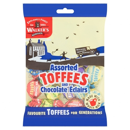 Picture of WALKERS ASSORTED TOFFEES AND ECLAIRS BAGS X 12