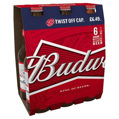 Picture of PM £6.49 BUD BOTTLES 300MLS 6PK X 4