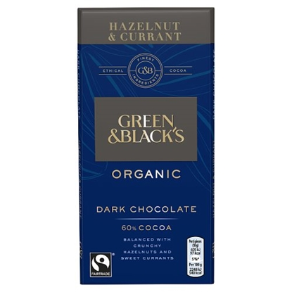 Picture of GREEN & BLACKS  HAZELNUT & CURRANT DARK 100G x 15