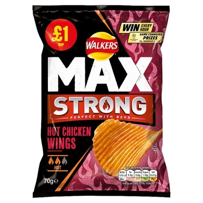Picture of PM £1 WALKERS MAX STRONG HOT CHICKEN WINGS 70G X15