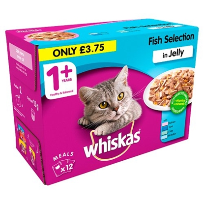 Picture of PM £3.75 WHISKAS FISH IN JELLY POUCH 100G X 12 X 4