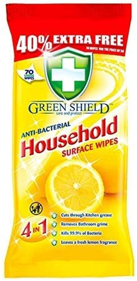 Picture of GREENSHIELDS ANTI-BAC HOUSEHOLD WIPES 70'S X 12