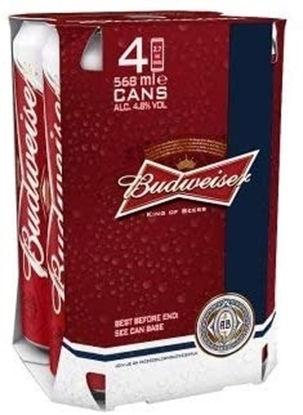Picture of BUDWEISER PINT 568ml 4PK x 6