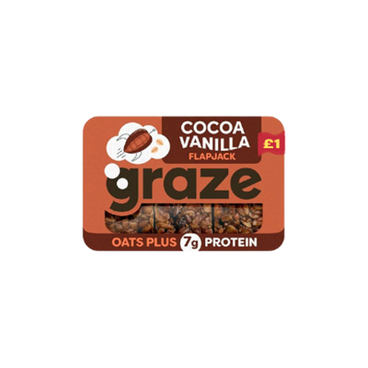 Picture of PM £1 GRAZE COCOA VANILLA FLAPJACK PUNNET 53g x 9