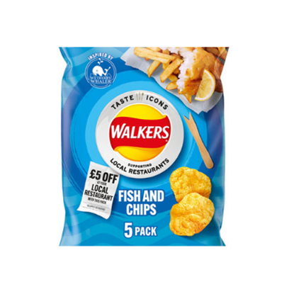 Picture of WALKERS FISH & CHIPS LTD EDITION 25g 5pk x 18
