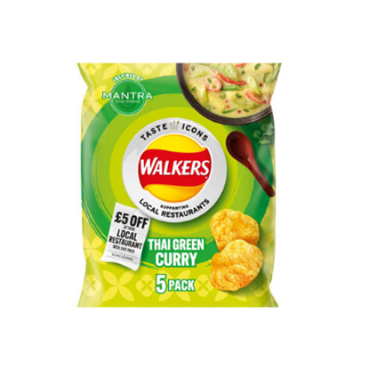Picture of WALKERS THAI GREEN CURRY LTD EDITION 25g 5pk x 18
