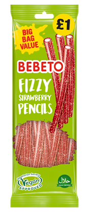 Picture of PM £1 BEBETO FIZZY STRAWBERRY PENCILS 200g x12